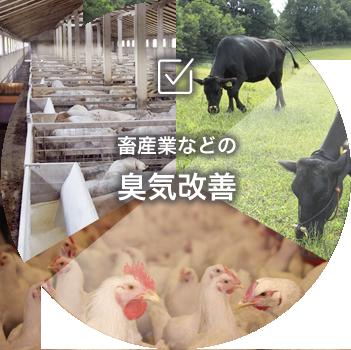 畜産業の糞などの臭気改善